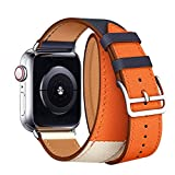 Watch Band Double Tour 44mm 40mm 42mm 38mm Series 4/3 /2/1 Replace for Strap Leather Bands