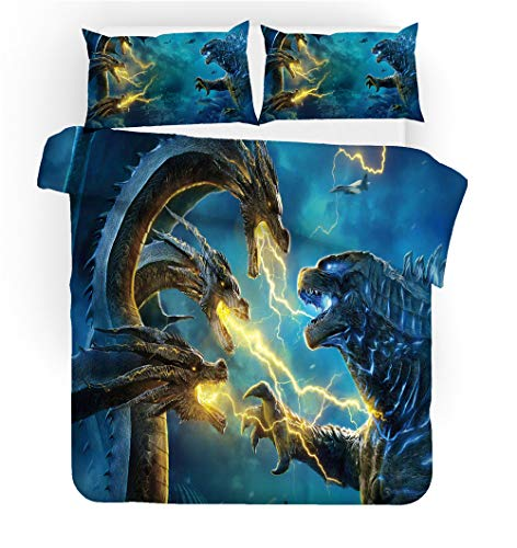 Meiju Duvet Cover Set 3D Printed Bedding Set Duvet Cover 3 pieces with Pillowcases for Single Double King Bed Microfiber Bedroom Duvet Set (Godzilla 7,140x210cm)