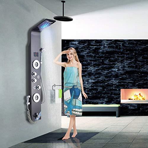 Saeuwtowy LED Panel de Ducha de Acero Inoxidable Columna de Hidromasaje Ducha Moderna 5 Función Acero Inoxidable con Pantalla LCD para Baño
