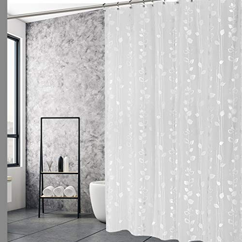 """EXCELL Home Fashions Ivy Shower Curtain, PEVA Shower Curtain, PVC Free, No Chemical Odors, 100% Waterproof, For Master Bathroom, Guest Bathroom, 70"""" x 72"""", Silver"""