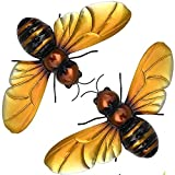 Honey Bee Decor for Home, Metal Bee Wall Decor, Outdoor Metal Wall Art, Porch, Patio Wall Decor, Backyard Bumble Bee Garden Fence Decorations Outdoors