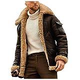 Dasongff Herren Winterjacke mit Innenfell Vintage Lederjacke Revers übergangsjacke Plüschmantel...