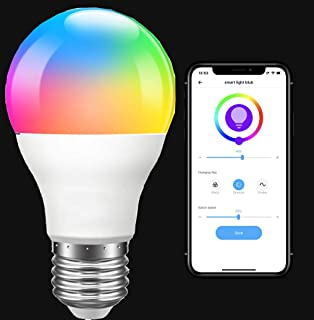 Smart WiFi LED Light Bulb, RGB Color Changing, LED E27 Bulb 9W A19, Compatible with Alexa and Google Home