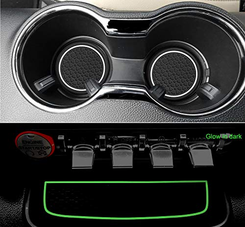 auovo Anti Dust Mats for Ford Mustang 2020 2019 2018 2017 2016 2015 Custom Fit Door Compartment Liners Cup Holder Mats Interior Accessories (5 pcs/Set) (White,Glow in Dark)