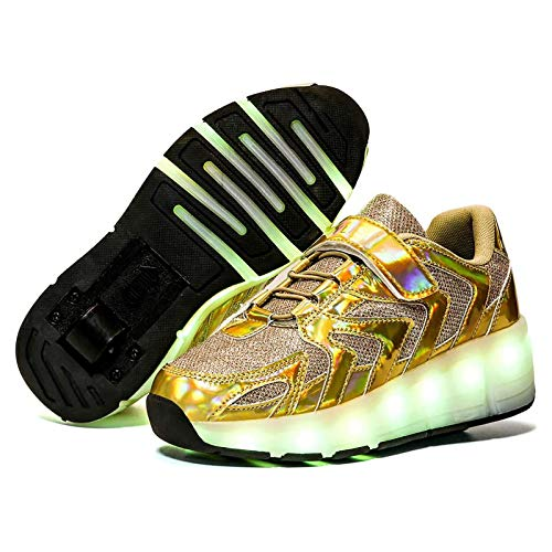 LED Luces Zapatos con Ruedas para Pequeños Niños,Niña Automática Calzado de Skateboarding Deportes de Exterior Patines en Línea Brillante,Aire Libre y Deporte Gimnasia Zapatillas,Yellow-30