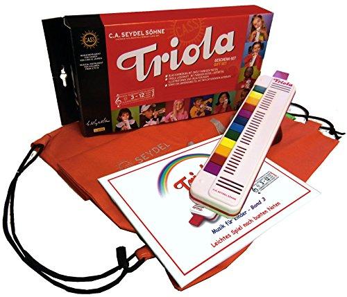 TRIOLA 12 Kompakt-Set mit Tasche für Instrument und Noten: die beliebte Blasharmonika mit farbigen Tasten für Kinder im Set mit dem Triola-Liederbuch MUSIK FÜR KINDER - BAND 3
