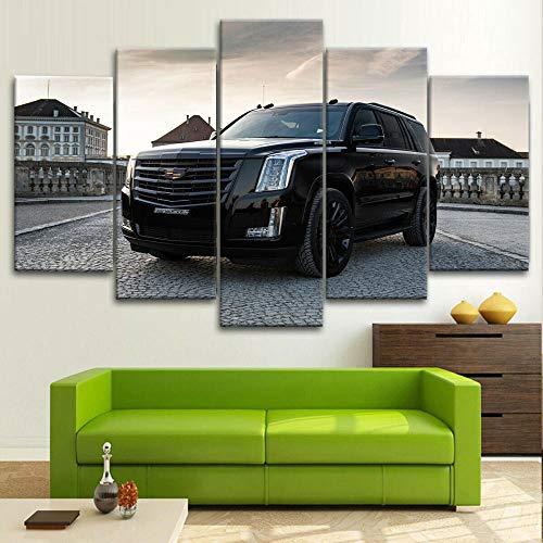 QWASD Coche SUV Cadilac Escalade Cuadro En Lienzo Equipo De 5 Piezas Coche Material Tejido No Tejido Impresión Artística Imagen Decor Pared