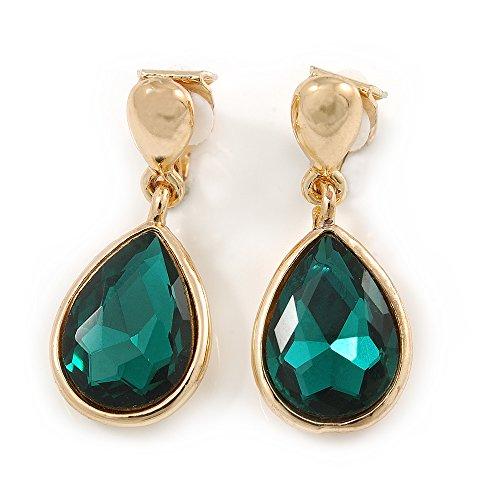 Orecchini pendenti dorati con chiusura a clip a forma di goccia verde smeraldo in vetro sfaccettato, lunghezza30mm.