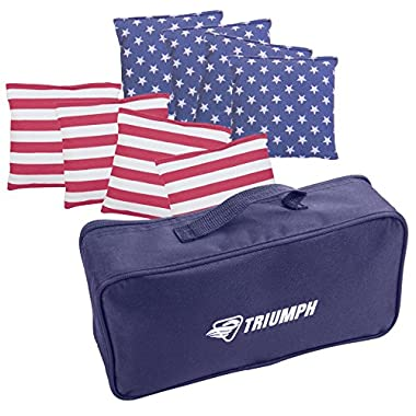 Triumph 6  x 6  Patriotic Stars and Stripes 16 oz. Bean Bags with Carry Pouch (8-Pack)
