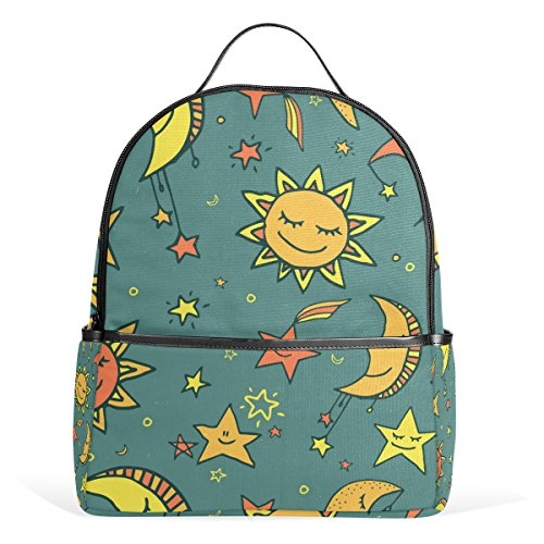 COOSUN Sun Moon and Stars Pattern School Backpack Lightweight Canvas Book Bag for Boys Girls Kids