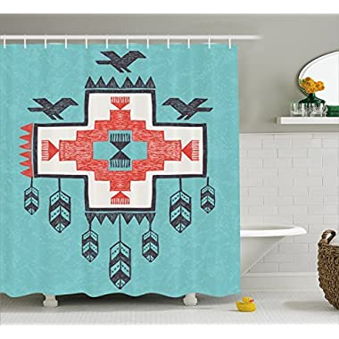 Ambesonne Native American Decor Shower Curtain, Ethnic Tribal Aztec Hand Drawn Dreamcathcher Folkloric Icons Birds Image, Fabric Bathroom Decor Set with Hooks, 70 Inches, Multi