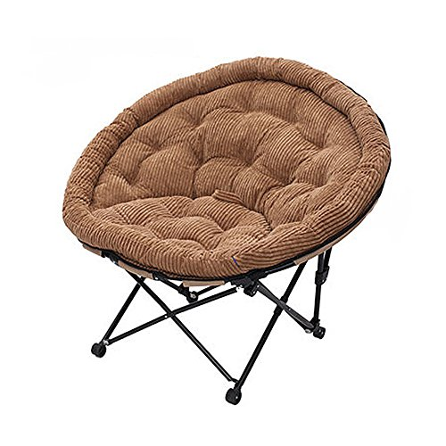 ZHIRONG Large Saucer Chair with Soft, Folding Moon Chair Round, Wide Seat Great for Lounging, Dorm Rooms Or Apartments in Multiple Colors (Color : Coffee Color)