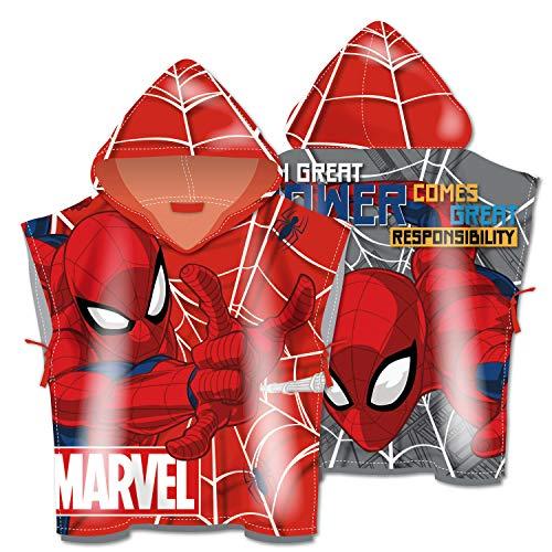 ARDITEX SM13522 Poncho de Microfibra con Capucha de 55X55cm de Marvel-Spiderman