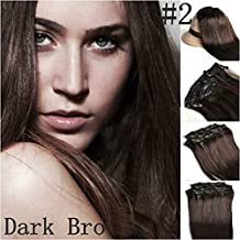 Romantic Angels Remy Clip in Hair Extensions Human Hair 120g 10pcs Set Dark Brown #2(24'')