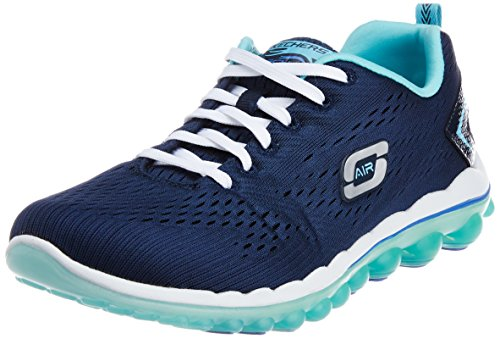 Skechers Sport Women's Skech Air Aim High Fashion Sneaker,Navy Mesh/Light Blue Trim,8 M US