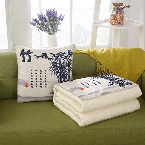 XIAOZHANG Kussen met overtrek wollen deken dubbele gebruiksdoeleinden bamboebladeren multifunctioneel sofakussen, kussen voor op kantoor, opvouwbaar kussen in de auto