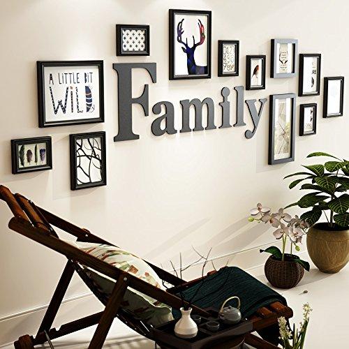 Zwart-wit schilderij de woonkamer muur schilderij schilderij wandschilderij wandschilderij combinatie van 2 meter hoogte 0,7 m massief hout 20 mm dikke planken alle zwarte 12 box + kern + letters