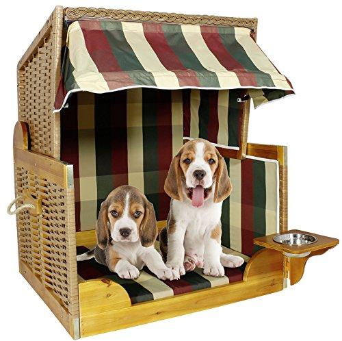Hundestrandkorb Hundebett Sitzhöhe 70cm für kleine & mittlere Hunde Farbe beige-rot-grün