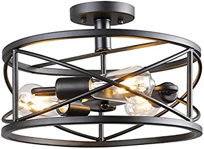 Semi Flush Mount Ceiling Light Vintage Industrial Chandelier Black Metal Retro Cage Hanging Fixture with 3 E26 Bulb Base for Hallway Restaurant Warehouse Barn Living Room Kitchen