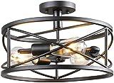 Semi Flush Mount - Lámpara de techo vintage industrial de araña negra de metal retro con 3 E27 pie de lámpara para pasillo, restaurante, almacén, salón, cocina