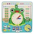 Reloj de calendario de madera, tablero de calendario para niños todo sobre mi primer reloj Juguete cognitivo para niños pequeños de Zerodis