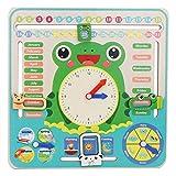 calendario multifunzione orologio giocattolo in legno primi giocattoli educativi orologi d'apprendimento tempo data stagione tempo metereologico settimana display per ragazzi ragazze bambini regalo