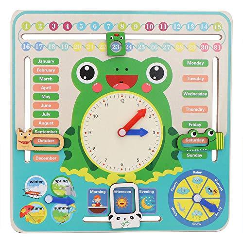 Kinder Holz Kalenderuhr Spielzeug All About Today Kalenderbrett Mein Erstes Uhr Kognitives Spielzeug für Kleinkinder Jungen und Mädchen ab 3 Jahren
