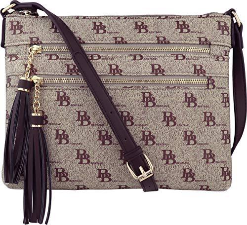 B BRENTANO Vegan Multi-Zipper Crossbody Handbag Purse with Tassel Accents (BB Brown)