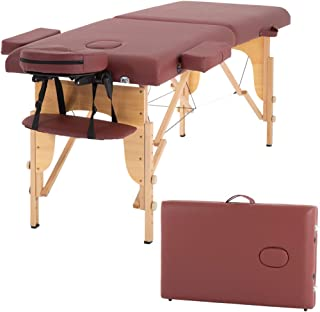Massage Table Massage Bed Spa Bed Heigh Adjustable Salon Bed 73 Inch Portable Massage 2 Folding Table W/Carry Case Face Cradle Bed