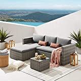Art Leon 3 Piece Patio <span class='highlight'>Furniture</span> <span class='highlight'>Set</span>s, All Weather Weaving <span class='highlight'>Rattan</span> Outdoor Sectional Sofa, PE Wicker Patio Conversation <span class='highlight'>Set</span>s with Glass Coffee Table and Washable Cushions(Gray)