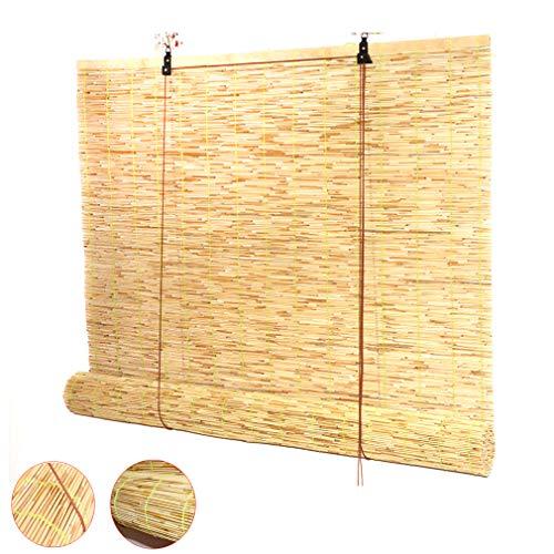 Zlovne Persianas de Caña Cortina de Caña,Persiana de Bambú Retro de Láminas de Persiana Cortina de Partición,Respirable/Impermeable/Sombrilla,Tamaño Personalizable (60x70cm/24x28in)