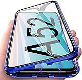 LIUKM Funda para Samsung Galaxy A52 5G Magnetica Adsorption Carcasa 360 Grados Protección Metal Choque Frente y Parte Posterior Vidrio Templado(Azul)