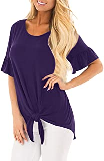 YANG-YI Hot Women's Comfy Short Sleeve Shirt Side Twist Knotted Tops Casual Blouse Tunic T Shirts