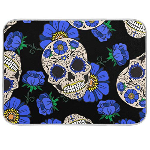 UMIRIKO Candy Skull Dish Drying Mat Blue Flowers Large Dish Drainer Kitchen Counter Mats Dish Dry Pad for Kitchen Counter 18x24in 2022955