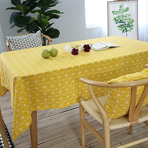 Asvert Manteles de Mesa Rectangular de Algodón y Lino de Estilo Moderno para Mesa Rectangular de Comedor Cocina Jardín y Bar (Amarillo)