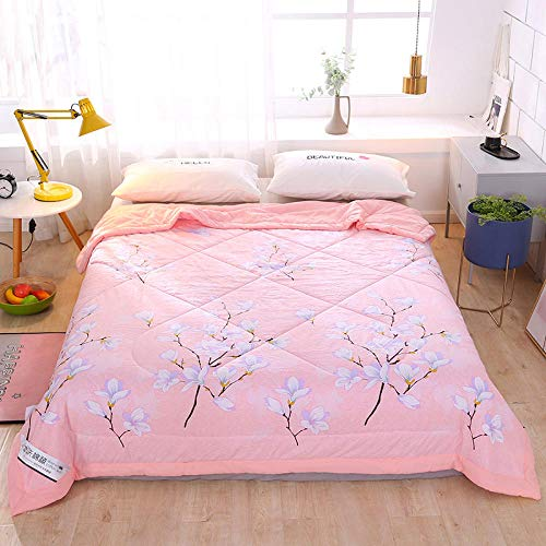 MUCHENXI Down-proof Cotton Shell,Washed cotton children's summer quilt, air-conditioned double quilt, machine washable for one person-Jade_150*200cm