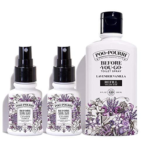 Poo-Pourri Lavender Vanilla 9-Ounce Refill Bottle and (2) 1.4-Ounce Refillable Bottle Lavender Vanilla
