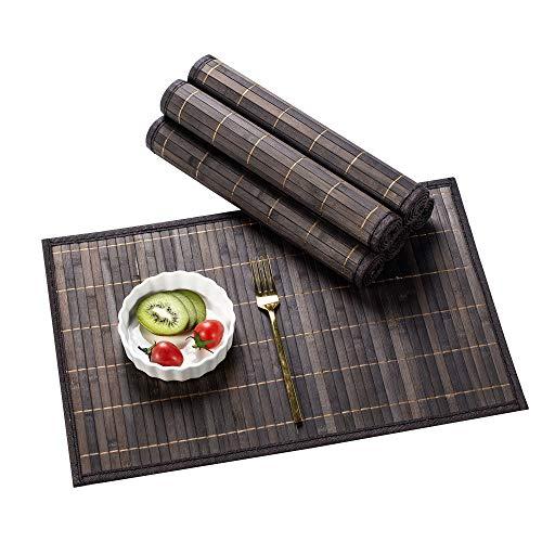 LOVECASA, Set de Table en Bambou 6 Pcs, Napperons Lavable Antidérapant, Tapis de Table- Gris