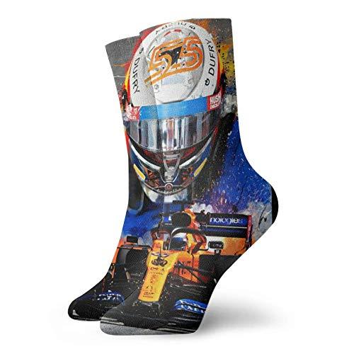 XCNGG Socken Sportsocken Schlauchsocken Carlos Sainz Socks,Double Dry Moisture Wicking Odor Crew Socks for Men and Women One Size