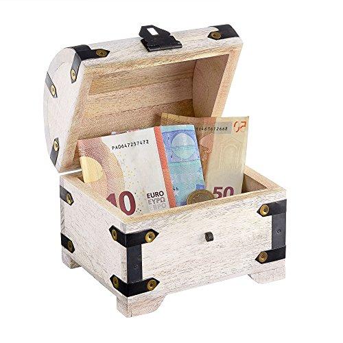 Casa Vivente Schatztruhe mit Gravur zur Hochzeit, Motiv Ringe, Personalisiert mit Namen und Datum, Schmuckkästchen aus weißem Holz, Geldgeschenke - 2