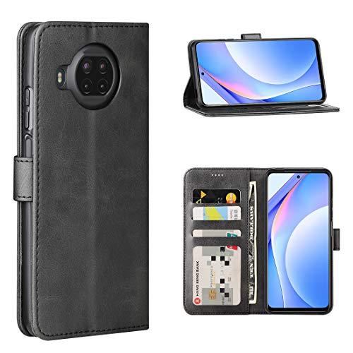 Cresee für Xiaomi Mi 10T Lite 5G Hülle, PU Leder Handyhülle mit 3 Kartenfächer, Schutzhülle Hülle Tasche Magnetverschluss Flip Cover Stoßfest für Mi 10T Lite (Schwarz)