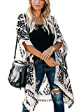 May Story Damen Sommer Kimono Cardigan Lässige Strand Poncho Retro Bedruckte Kurzarm Lange Bluse Tops Pareos Beachwear (One Size, Schwarz)