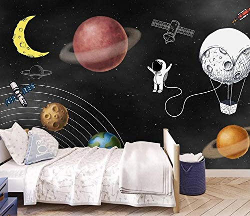 Fotomurali Murale 3D Satellite Del Pianeta Del Razzo Spaziale Del Fumetto Carta Da Parati Muro Fotomurali 3D Soggiorno Camera da letto Wallpaper Home Decor 400cmx280cm