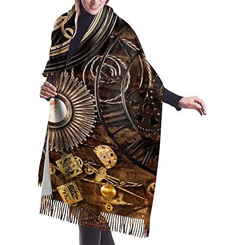 Cathycathy Vintage wandklok sjaal wrap warm scarf cape grote sjaal