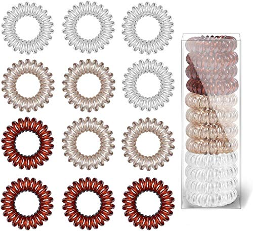 Spiral Hair Ties, 12Pcs Plastic Hair Coil Bands, Spiral Ponytail Holder Phone Cord Bobbles Bands Set for Women Girls Hair Accessories