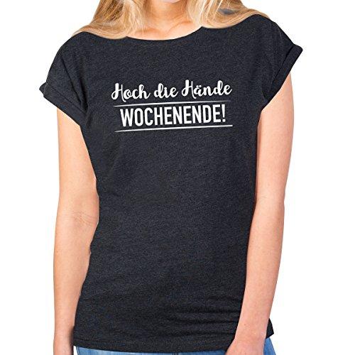 JUNIWORDS Damen T-Shirt -Hoch die Hände Wochenende! - große Auswahl an Motiven - Größe: M - Farbe: Anthrazit