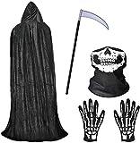 Faburo Cape à Capuchon Halloween Capuche Cape Costume d'halloween Unisexe Costume de Mort Longue Velours Cape De Vampire Fantaisie Robe