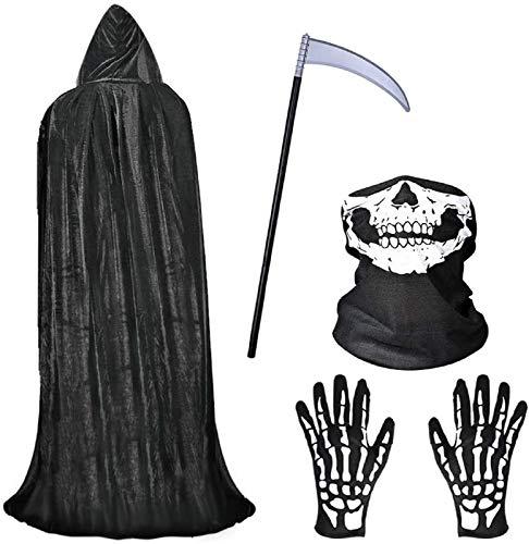 Faburo Cape à Capuchon Halloween Capuche Cape Costume dhalloween Unisexe Costume de Mort Longue Velours Cape De Vampire Fantaisie Robe