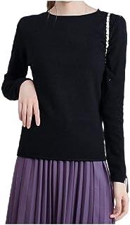 Comaba Women's Knitwear Soft Long-Sleeve Folded Hem Crew Neck Tee Shirt