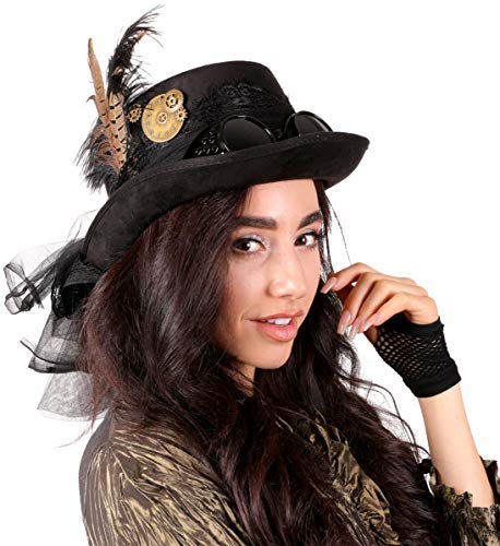 Narwhal Novelties Deluxe Halloween Costume Hat; Black, Velvet 4.5' Steampunk Hat with Removable Steampunk Goggles Attached Feather, Gears